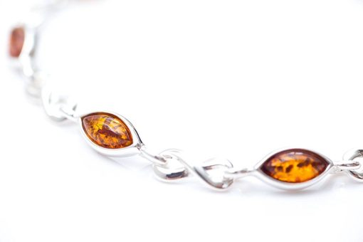 Baltic Amber & Sterling Silver Infinity Bracelet