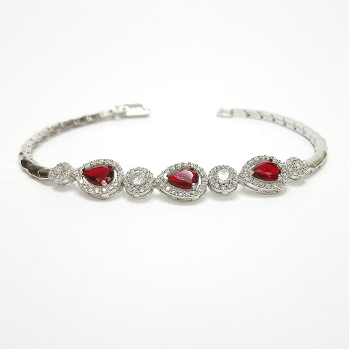 Sterling Silver Pear-Shaped Red Cubic Zirconia Bracelet