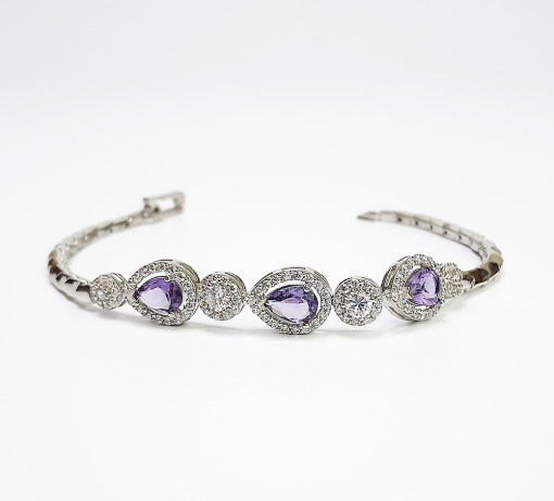 Sterling Silver Pear-Shaped Purple Cubic Zirconia Bracelet