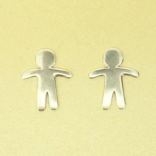 Handmade Sterling Silver Gingerbread Man Earrings