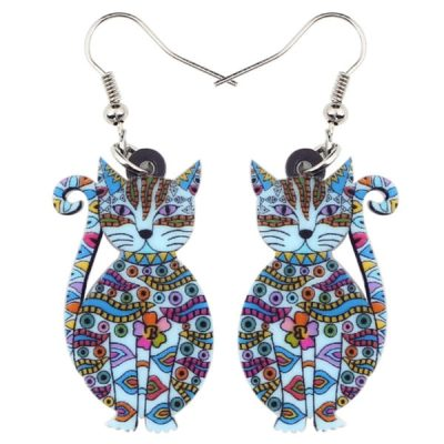 Acrylic Floral Cat Earrings