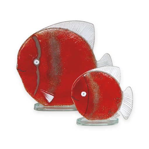 Handmade Fused Glass Fish Red