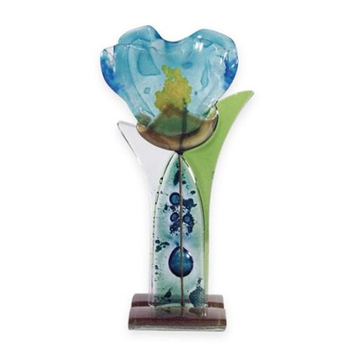 Handmade Fused Glass Blue Flower
