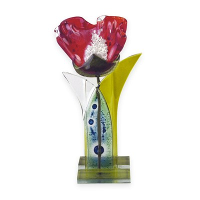 Handmade Fused Glass Red Flower