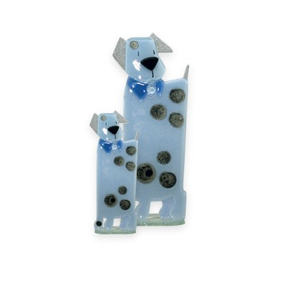 Handmade Fused Glass Puppy Blue