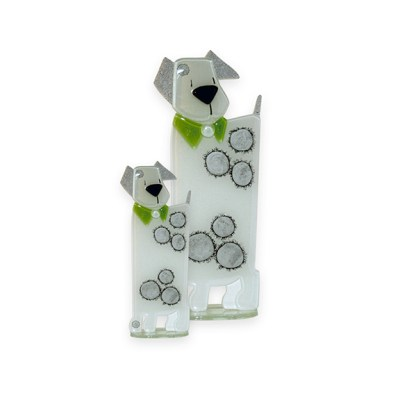 Handmade Fused Glass Puppy Green