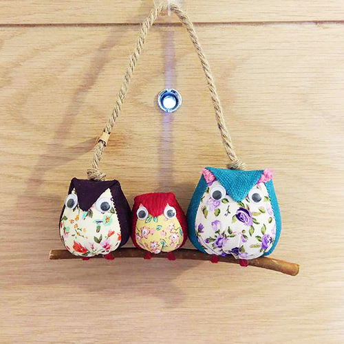 handmade fabric owl family