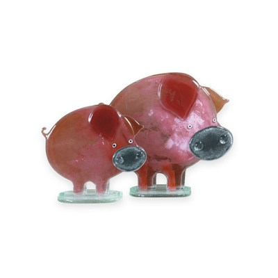Handmade Fused Glass Piglet Blush
