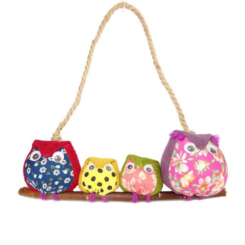 handmade fabric owl family