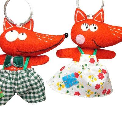 Pair of delightful handmade felt Fox keyrings