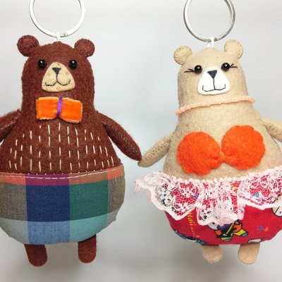 Pair of delightful handmade felt Bear keyrings