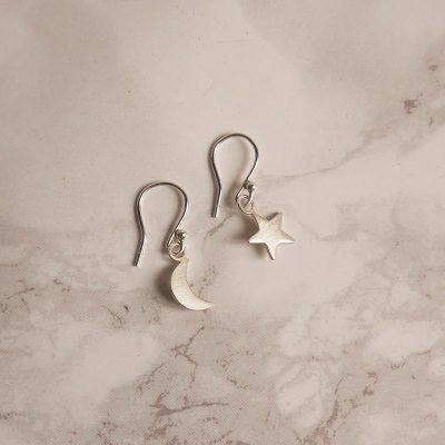Satin Star and Moon Earrings