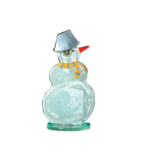 Handmade Fused Glass Snowman