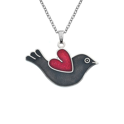 Black & Red Love Bird and Heart Enamel Necklace