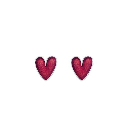 Red Heart Enamel Earrings