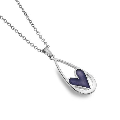Teardrop Necklace with Purple Heart Detail
