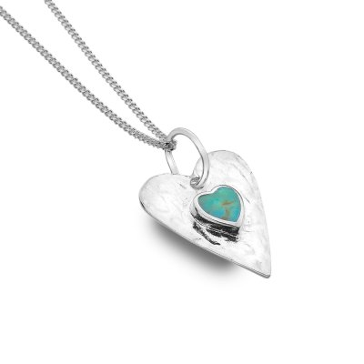 Sterling Silver & Turquoise Heart Necklace
