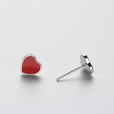 Silver Red-Heart Stud Earrings