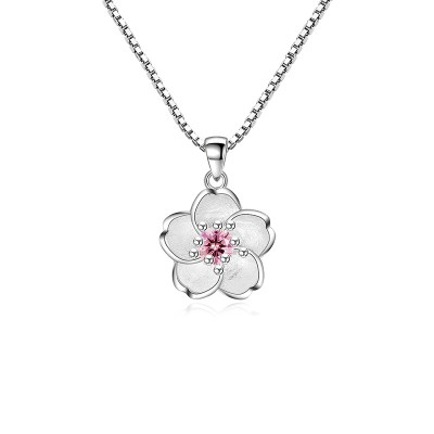 Sterling Silver & Pink Cubic Zirconia Cherry Blossom flower Necklace