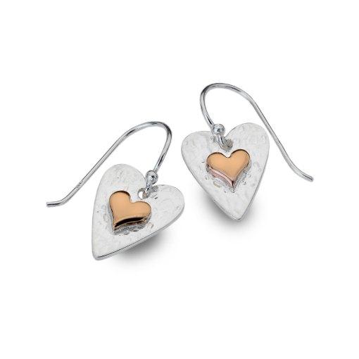 Sterling Silver & Rose Gold Heart Earrings
