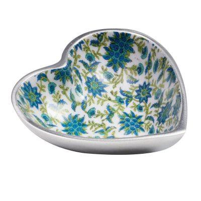 Floral Print Aluminium Heart Dish