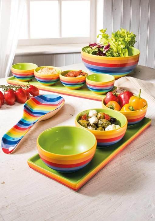 Hand Painted Rainbow Stripe Set of 3 Bowls