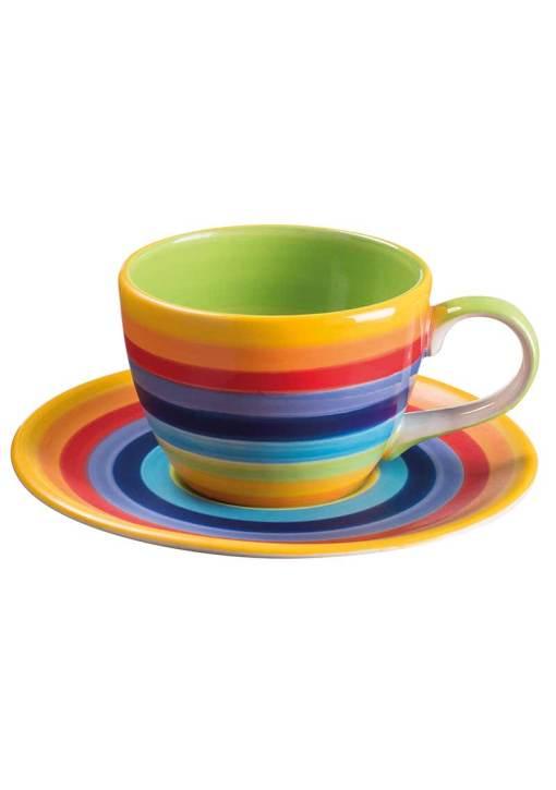 Hand Painted Rainbow Stripe Coffee Cup & Saucer