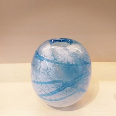 Ice Floe Aquamarine with Cracked White Glass Vase