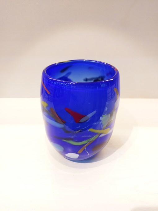 Lapis blue with abstract colour Glass Vase