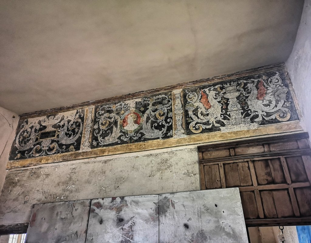 The painting frieze in the privy chamber of Acton Court