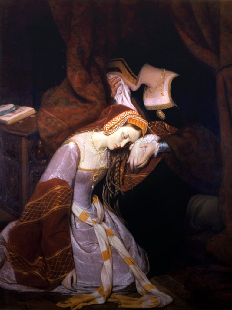 Anne Boleyn weeps at the Tower of London