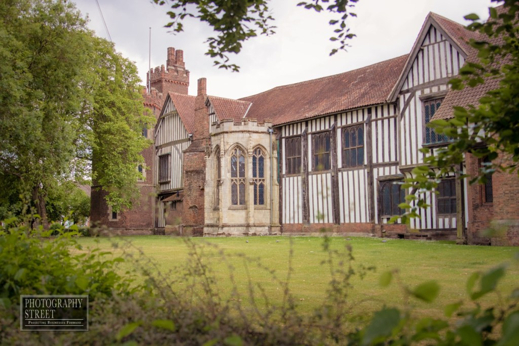 Gainsborough Old Hall from the north, showing exterior of the great hall.