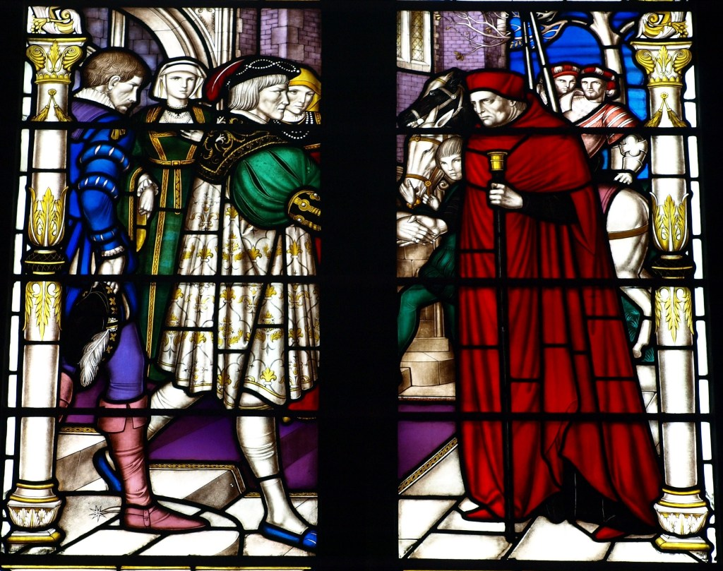 Cardinal Wolsey is greeted by the 4th Earl of Shrewsbury at Sheffield Manor