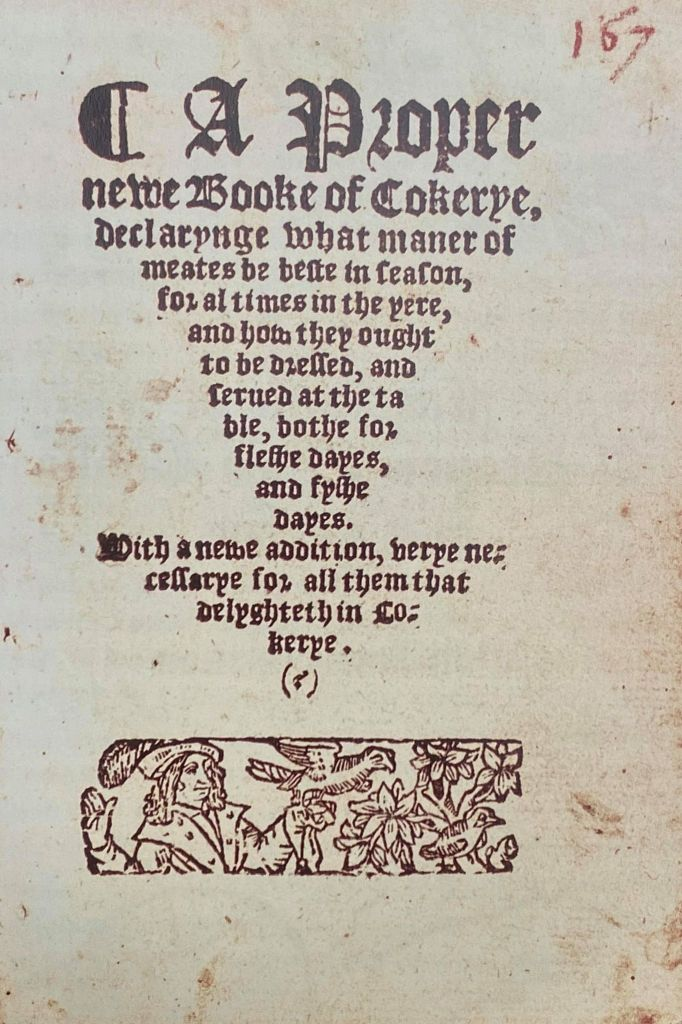 Front page from a Tudor cookery book