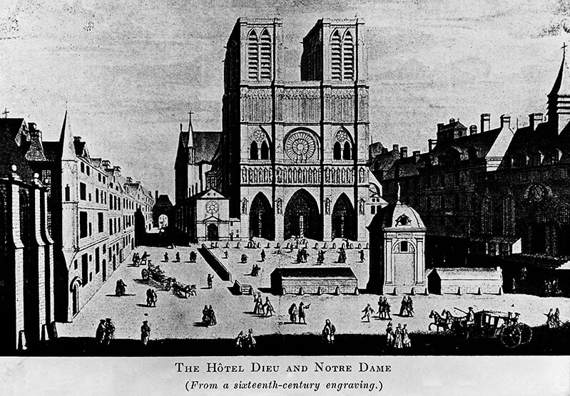 A sixteenth century engraving on Notre Dame Cathedral, a place in France linked to Mary, Queen of Scots