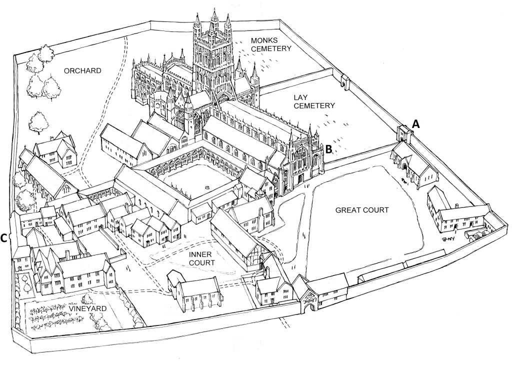 A drawing reconstructing Gloucester Abbey
