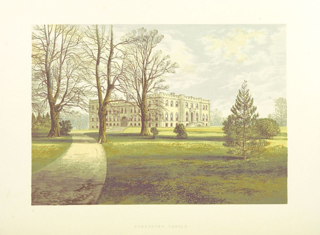 A watercolour image of a grand house: Kimbolton Castle