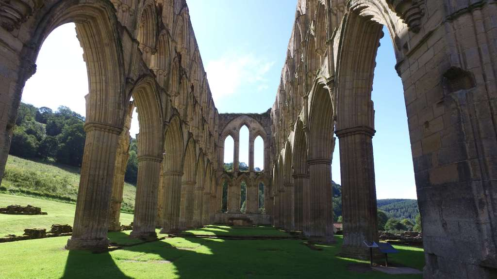 The ruins of the abbey church at Rievaulx Abbey