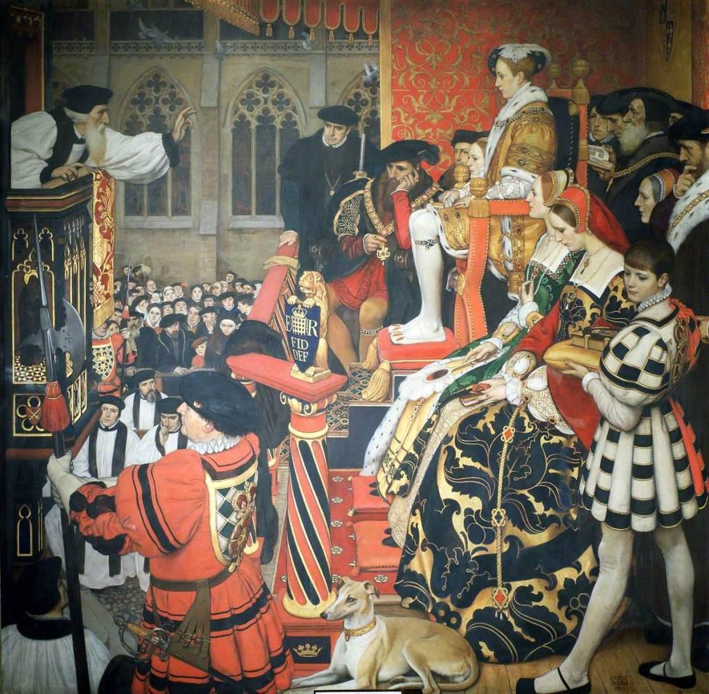 King Edward VI listens to a protestant preacher