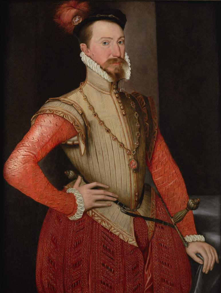 Tudor art - Robert Dudley by English School, 1562. Oil on panel, on display in the Love's Labour's Found Exhibition at the Philip Mould & Co Gallery.