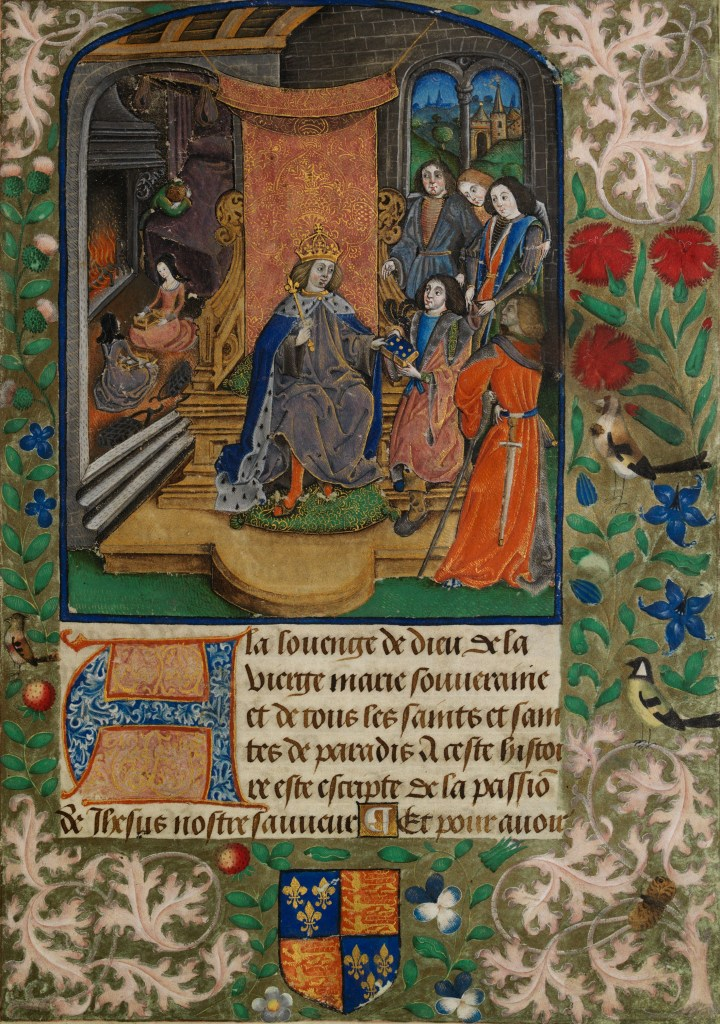 Illuminated manuscript believed to be showing Henry VII in mourning