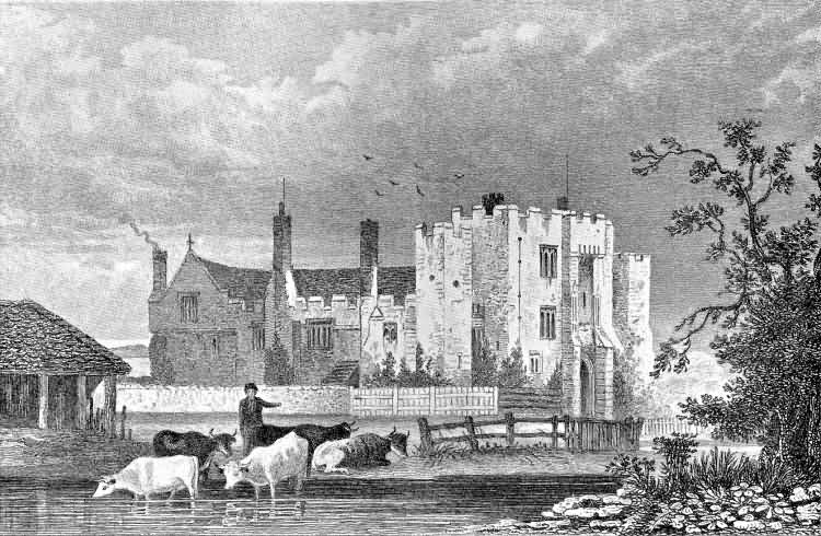 Hever Castle with tenant farmers in the foreground