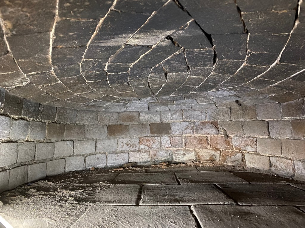 The interior of a brick bread oven