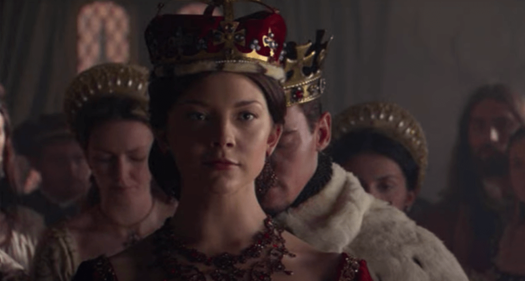 Anne Boleyn wears a crown as she is elevated to the peerage as Marquess of Pembroke