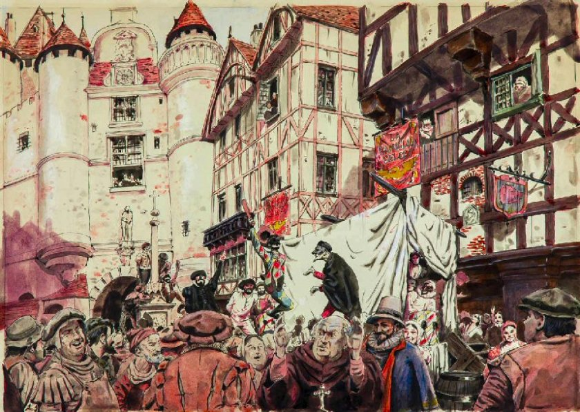 A Tudor street with celebration and pageants