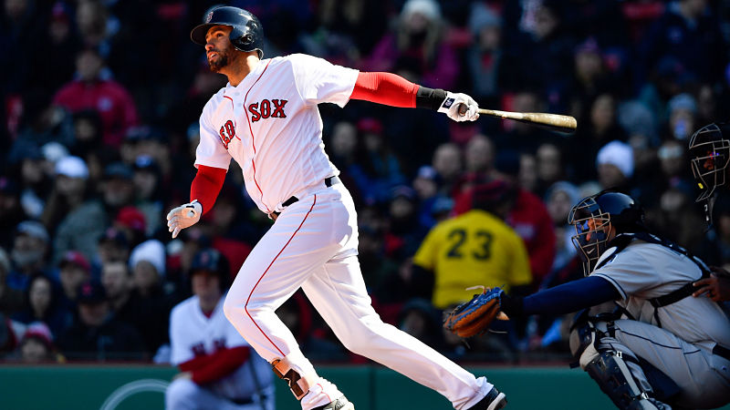 Apr 7, 2018; Boston, MA, USA; Boston Red Sox right fielder J.D. Martinez (28) watches the ball after hitting a home run against the Tampa Bay Rays in the seventh inning at Fenway Park. Mandatory Credit: Brian Fluharty-USA TODAY Sports