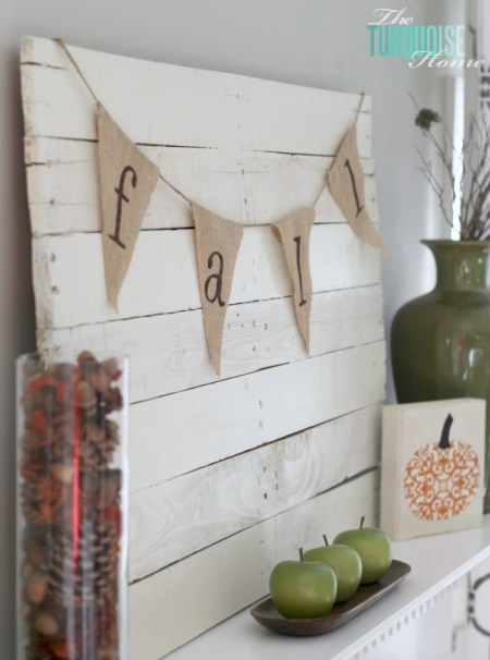 Planked Pallet Fall Mantel