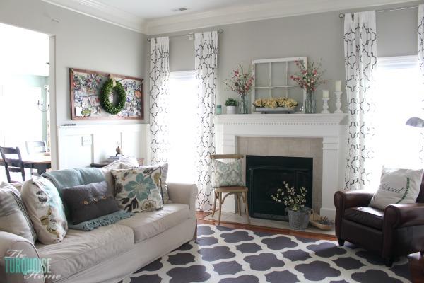 Farmhouse Fresh Spring Mantel | The Turquoise Home on Farmhouse Living Room Curtain Ideas  id=88056
