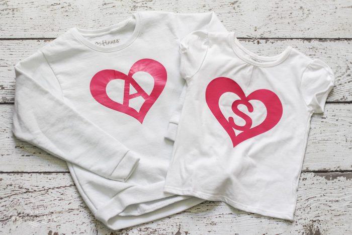 DIY Heart Monogram Shirt With Heat Transfer Vinyl