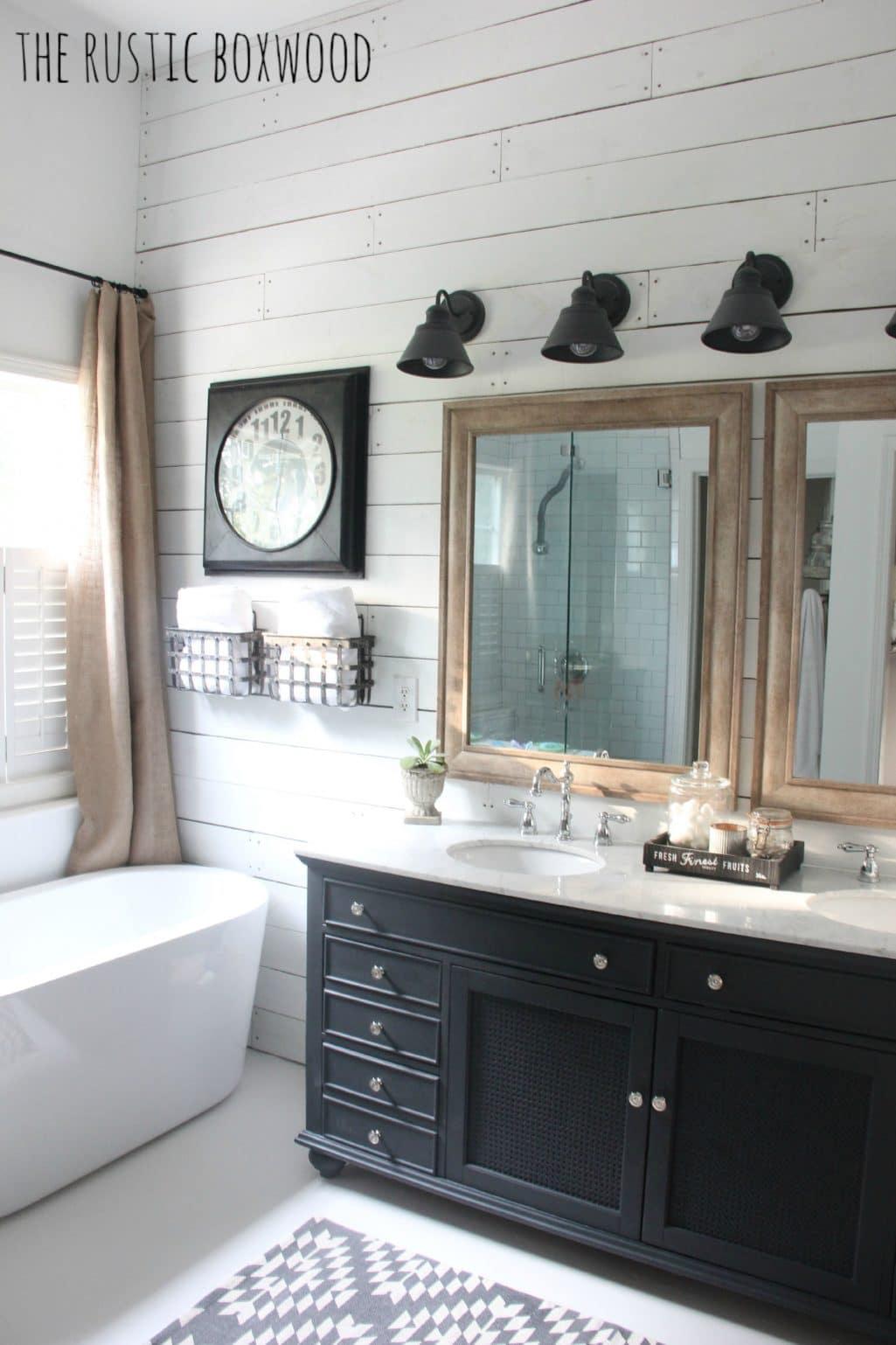 Essential Elements of a Farmhouse Bathroom | The Turquoise ... on Farmhouse Shower Ideas  id=72361